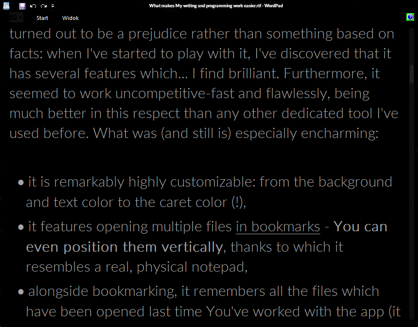 A beautifully dark-themed WordPad.