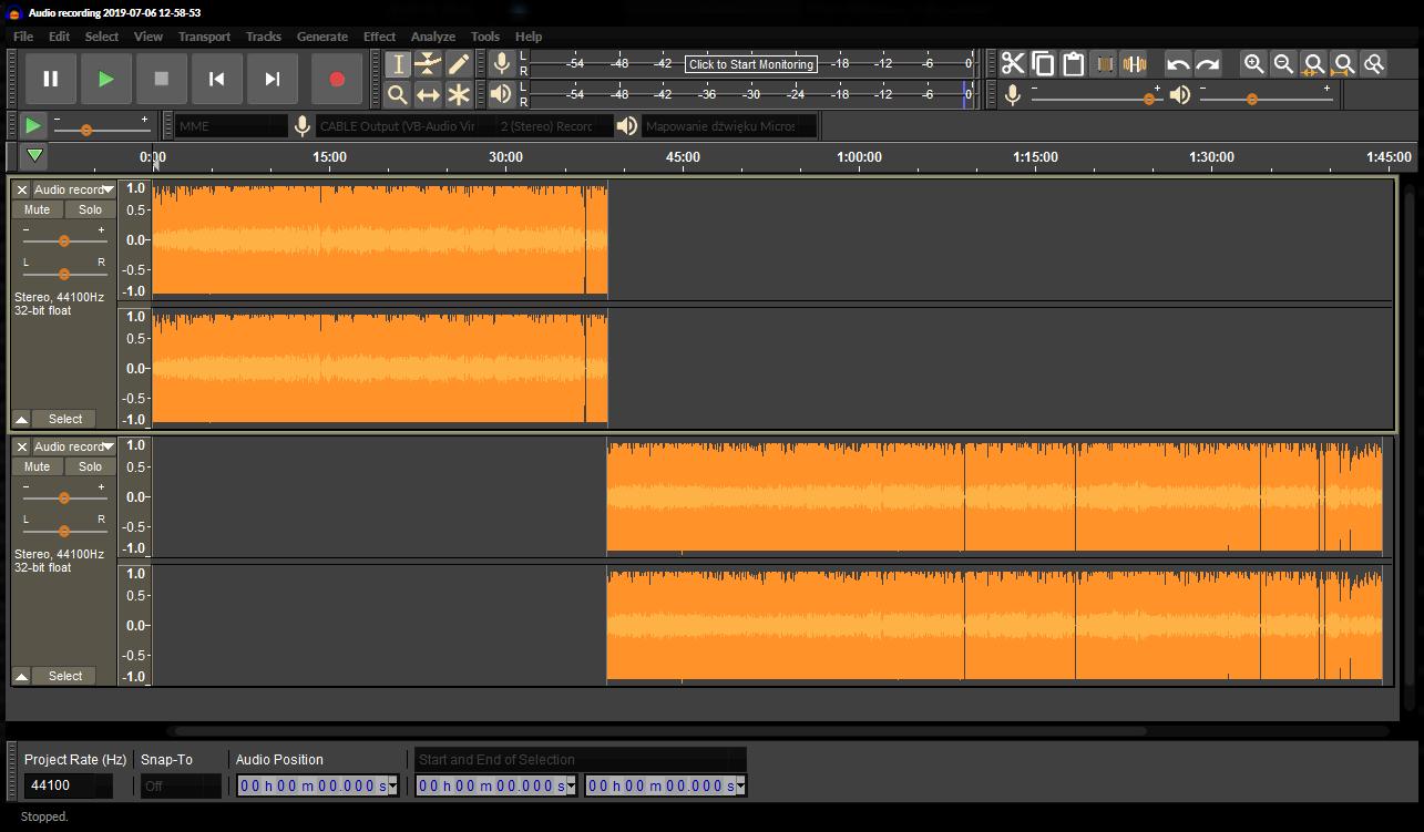 Audacity - combining tracks.