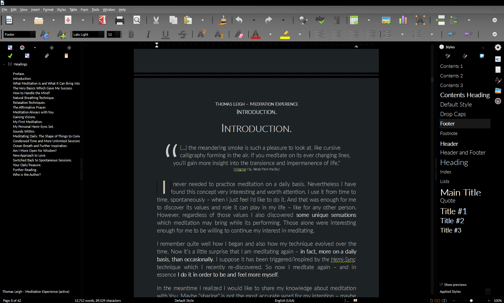 My book within LibreOffice Writer.