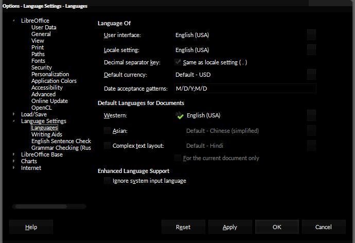 LibreOffice - Language Settings