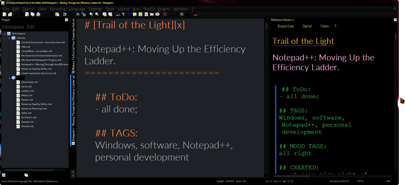 Notepad++ with workspace and Markdown view panels.